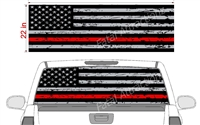 "Distressed American Flag Red Line See Thru Window Wrap 22""x68"""