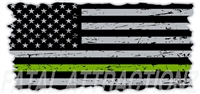 Distressed American Flag Thin Green Line