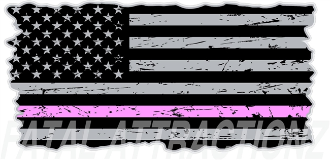 Distressed American Flag Thin Pink Line
