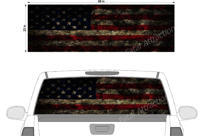 "Distressed American Grunge Flag See Thru Window Wrap 22""x68"""