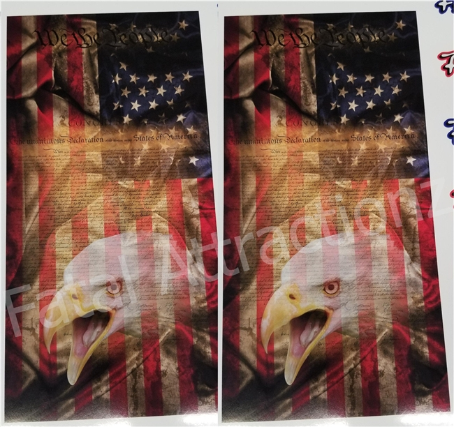 Distressed Flag Eagle We the People Cornhole Cover Wrap