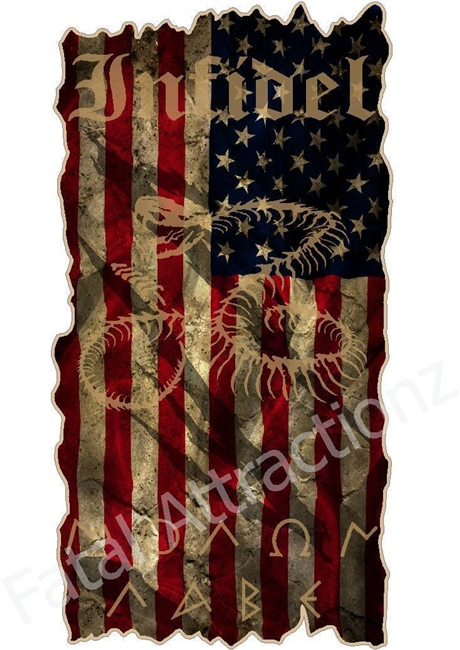 Distressed Infidel American Flag