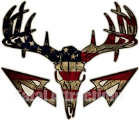 Distressed American Flag Deer Skull S4 Arrows