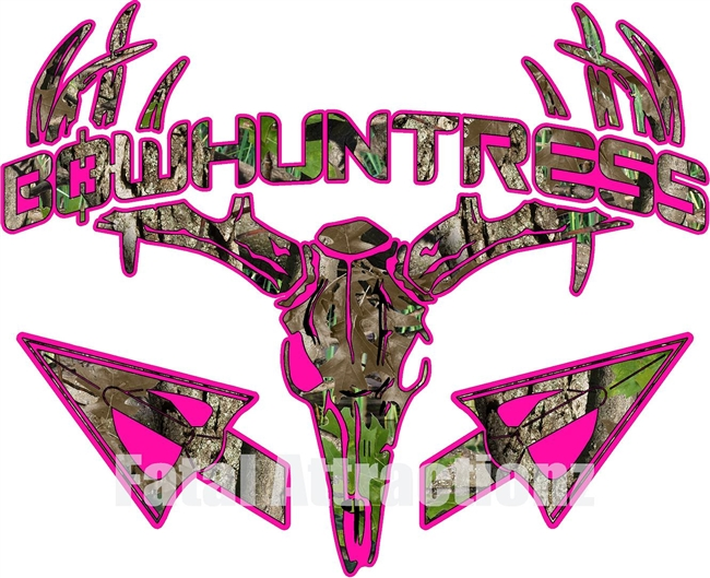 Hot Pink Camo Bowhuntress Deer Skull S4 Arrows