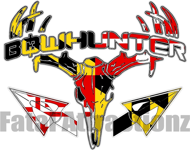 Maryland Flag Bowhunter Deer Skull S4 Arrows