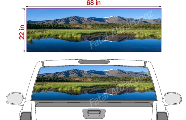 "Mountain Lake See Thru Window Wrap 22""x68"""