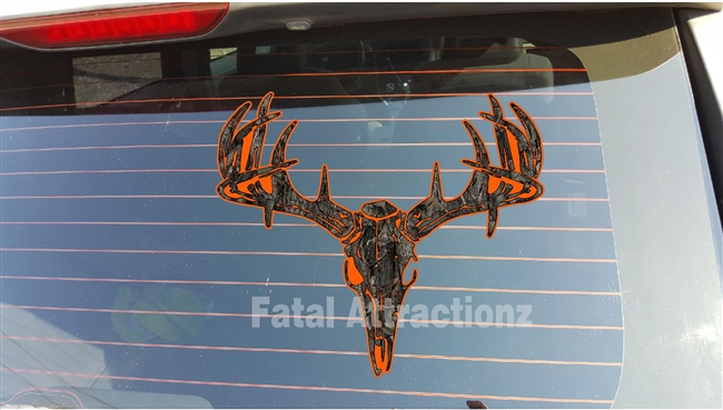 Orange Ambush Camo Deer Skull S4