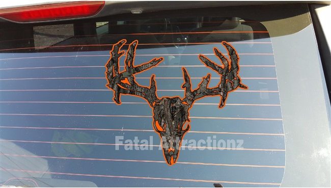 Orange Ambush Camo Zombie Deer Skull