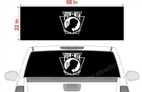 "POW Keystone Flag See Thru Window Wrap 22""x68"""