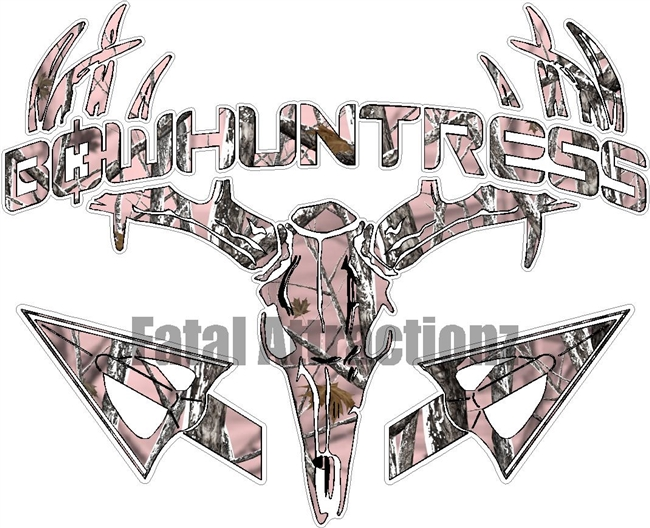 Pink Snowstorm Camo Bowhuntress Deer Skull S4 Arrows