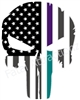 Rugged American Flag Skull Purple Teal Line sudicide awareness