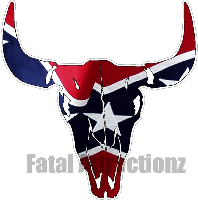 Rebel Flag Bull Skull