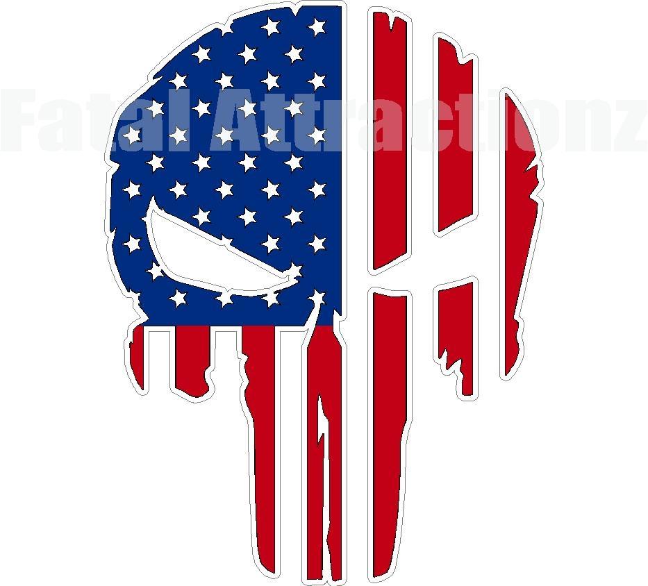 rugged american flag skull
