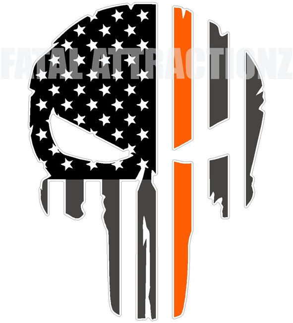 Rugged American Flag Skull Orange Line MS