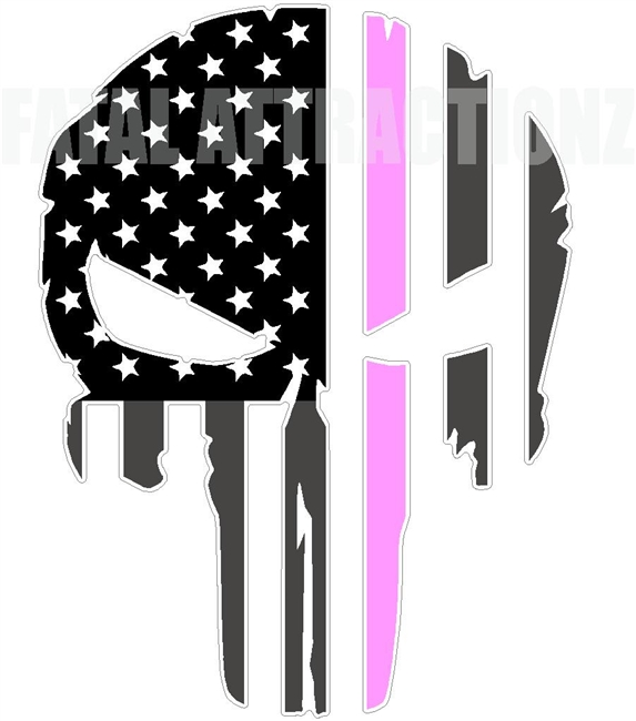 Rugged American Flag Skull Pink Line Breast Cancer