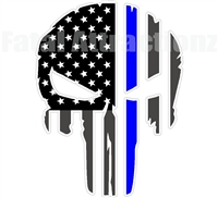 Rugged American Flag Skull Blue Line Police