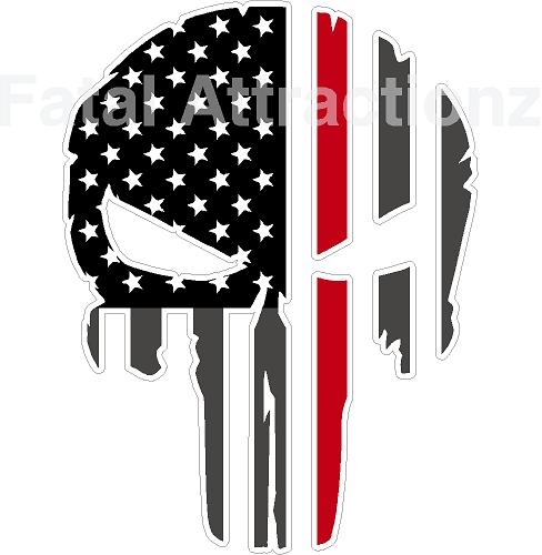 Rugged American Flag Skull Red Line Fire Fighter