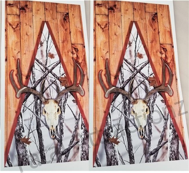 Snow Camo Boards Deer Skull Cornhole Cover Wrap