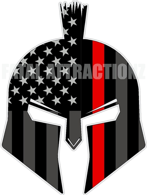 American Flag Red Line Spartan Trojan Fire Fighter
