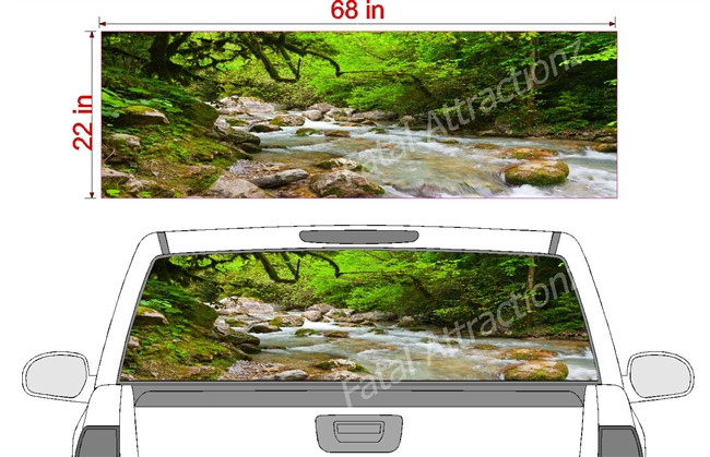 "Stream in Forest See Thru Window Wrap 22""x68"""