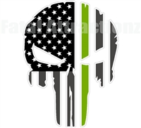 Rugged American Flag Skull Green Line Game Commission WCO Wild Life Conservation