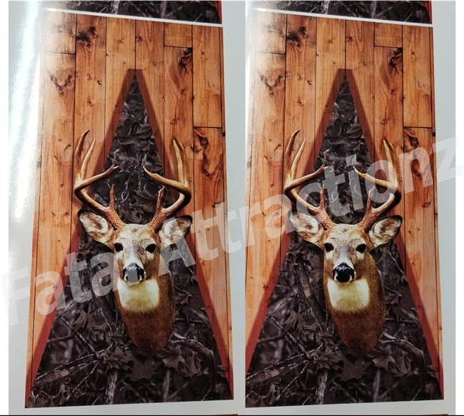 Woodland Camo Boards Deer Head Cornhole Cover Wrap