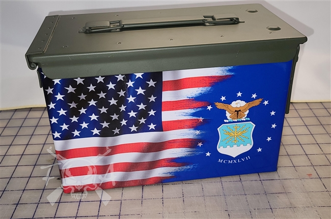 Ripped American Flag Air Force Ammo Can Box Wrap Set