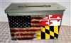 Ripped American Flag Distressed Maryland Ammo Can Box Wrap Set