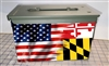 Ripped American Flag Maryland Ammo Can Box Wrap Set