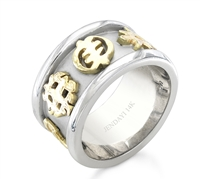 Two Toned Adinkra Wedding Band in 14k white & yellow gold