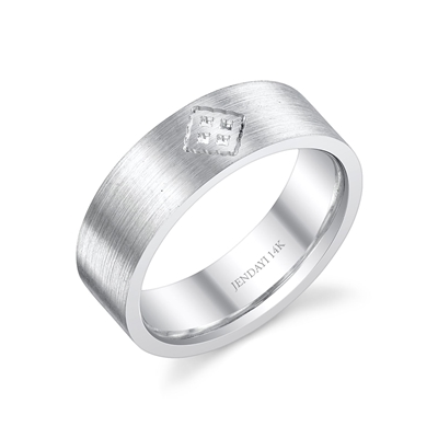 Senchi II 14k White Gold Wedding Band