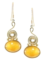 Eternity Antique Amber Spiral Oval drops in 14k yellow gold