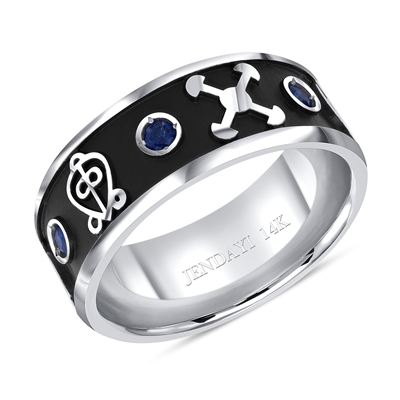 14K Kwame Adinkra Wedding Band with Black Enamel & Sapphires