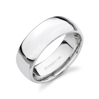Classico Elite- Forever Yours 14k White Gold Comfort Fit Wedding Band- 8mm