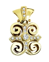 18K Royal Ade Pendant with diamonds in yellow gold