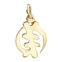 AMARA 14K Yellow Gold Gye Nyame Charm with hoop bale