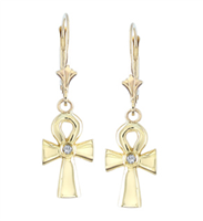Amani Ankh Angel Diamond Earrings in 14k yellow gold