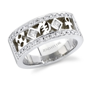 3 Symbol 2 Bezeled 14K Diamond Wedding Band I