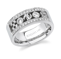 3 Symbol 2 Bezeled Diamond Wedding Band III in 14k white gold