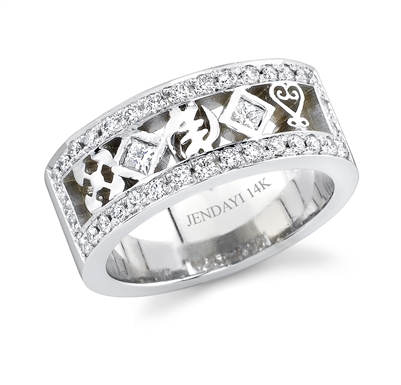 14k 3 Symbol 2 Bezeled Diamond Band II