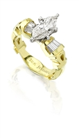 Marquise Diamond Ankh Ring in 18k yellow gold