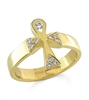 Ankh Angel Ring With Diamonds in 14k gold