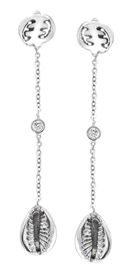Eva Gye Nyame Diamond Drop Earrings in 14k white gold