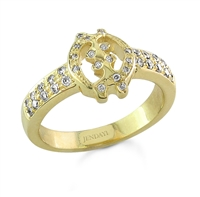 Gye Nyame  Ring With Diamonds in 14k gold