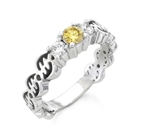 Gye Nyame Yellow Diamond Ring in 14k gold