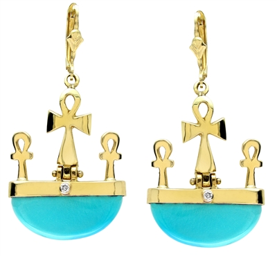 Forever Turquoise Diamond Ankh Earrings in 14k gold