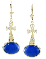 Lapis Ankh Angel Earrings  in 14k yellow  gold