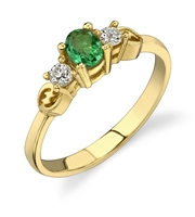 Emerald  Princess Ring in 14k yellow gold