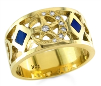Star & Crescent Ring With Lapis in 18k