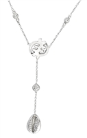 Eva 14k White Gold Gye Nyame Diamond Drop Necklace
